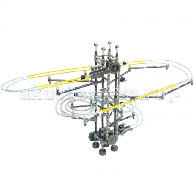 Конструктор Executivity Aero Track 3L 348 деталейAero Track 3L 348 деталейКонструктор Executivity Aero Track 3L 348 деталей - отличная игрушка нового поколения для всех возрастов, который позволяют собрать удивительную динамическую конструкцию, заставляющую несколько шариков двигаться без остановки.   В состав конструкции - входит лебедка, поднимающая шарики вверх, и рельсы, по которым шарики скатываются вниз. Рельсы можно соединять как угодно, отклоняясь от инструкции и создавая собственную индивидуальную модель.  Собирая такой конструктор, не обязательно пользоваться инструкцией. Дав волю фантазии, из шпал и металлических тросов Вы сможете соорудить свой собственный неповторимый аттракцион. Ваш ребенок, собирая его вместе с Вами или один, научится сосредотачиваться, усвоит несколько законов физики, разовьет пространственное и последовательное логическое мышление.  В наборе: 348 деталей, включая 6 шариков длина трека - 6 метров размер собранной конструкции: 42 х 19 х 39 см размер деталей: от 1.5 см до 16 см диаметр шариков: 1.5см; размер коробки: 28 х 8 х 28 см  конструктор работает от 2-х батареек.<br>