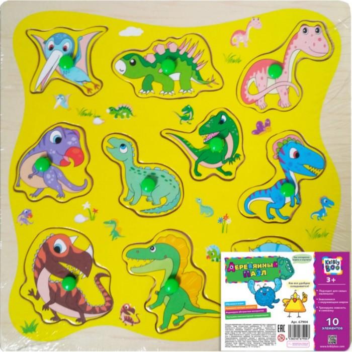 Пазлы Kribly Boo Деревянный пазл Динозаврики 10 элементов 23x23 см