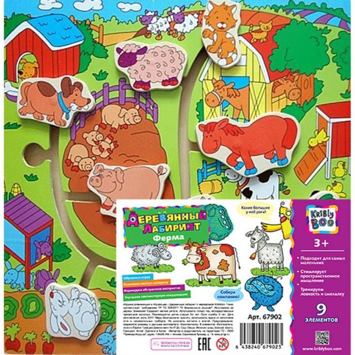 Купить Деревянные игрушки, Деревянная игрушка Kribly Boo Игра с дорожками Путешествие по ферме 9 элементов