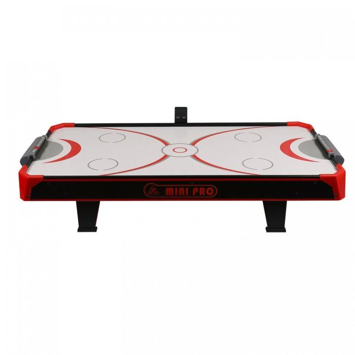 DFC Игровой стол аэрохоккей Mini Pro 44Настольные игры<br>DFC Игровой стол аэрохоккей Mini Pro 44 - это настольная модель. Дополнительно в комплекте идет поле для игры в настольный теннис. Модель для игры дома или на даче. Компактные габариты позволяют брать стол с собой в поездку.  Игровой стол будет не только отличной покупкой для себя, но и прекрасным подарком. Игра в настольный хоккей очень эмоциональная, захватывающая и проходит на больших скоростях.   Для подсчета забитых шайб напротив каждого игрока установлен механический счетчик.  Стол комплектуется необходимым для игры набором аксессуаров:  Для игры в аэрохоккей: 2 биты и 2 шайбы  Для игры в настольный теннис: 2 ракетки, 2 шарика, сетка Корпус выполнен из специально обработанного МДФ, сверху покрытого ПВХ-пленкой.  Вентилятор подает воздух через отверстия на игровом поле.  В случае необходимости после игры ножки стола можно убрать в удобный карман с обратной стороны стола и положить на шкаф для хранения до следующей игры.