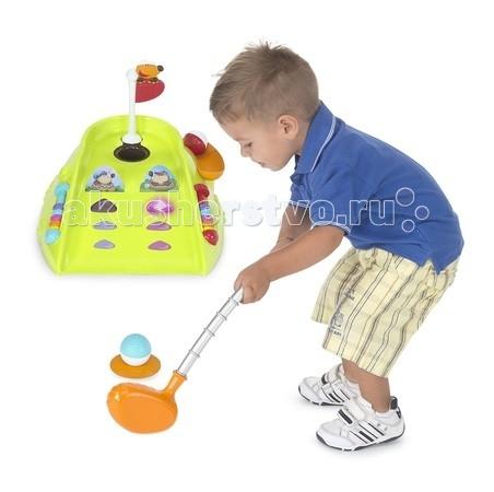 Chicco Игрушка Fit&amp;Fat Мини Гольф КлубИгрушка Fit&amp;Fat Мини Гольф КлубГольф-клуб для юных игроков!  Забавный яркий мини-гольф для детей со световыми и звуковыми эффектами развивает точность и координацию движений. Маленький игрок должен за ограниченное время попасть в мишень, рядом с которой включилась подсветка. В случае успеха звучит торжественная музыка. Можно посоревноваться с папой или друзьями. В комплект входят два мяча и клюшка.  Предусматривает два режима игры: тренировка и попадание в цель.    Размер упаковки: 46,7 х 34,7 х 10,5 см<br>