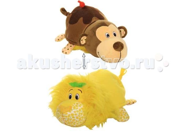 Купить Мягкие игрушки, Мягкая игрушка 1 Toy Вывернушка Ням-ням Лев и Мартышка 40 см