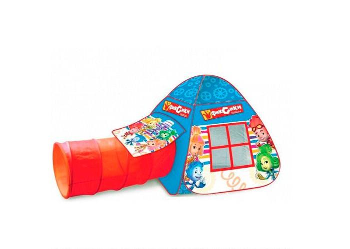 Играем вместе Игровая палатка с тоннелем ФиксикиПалатки-домики<br>Играем вместе Игровая палатка с тоннелем Фиксики - это лучшее решение родителей, чтобы ребенок мог активно играть с пользой для здоровья!   Особенности:  Палатка выполнена из прочного текстильного материала и окрашена в яркие цвета с изображением персонажей мультсериала Дополнительно к палатке прилагается тоннель, который легко складывается, раскладывается и может служить входом Домики очень компактные, легкие и их легко брать с собой, например, на дачу или на природу Палатка имеет окошки из сетки Специальная дверка закрепляется на липучках. Размер тонеля: 46х100 см размер палатки: 87х95х95 см.