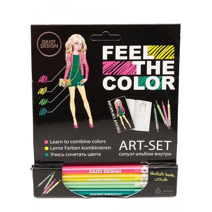 Принадлежности для рисования Daisy Design Арт-Сет фломастеры и силуэт-альбом Lotus of Feel the color