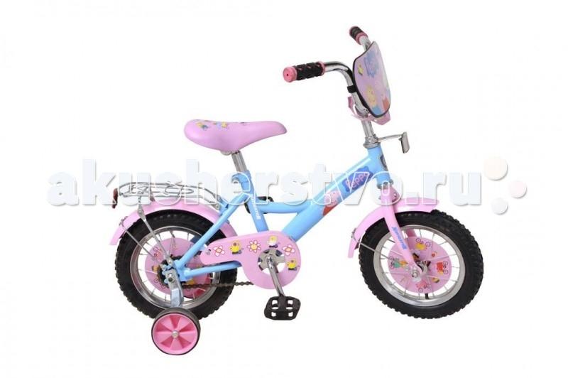 Велосипед двухколесный Navigator Peppa Pig 12 KitePeppa Pig 12 KiteВелосипед Navigator Peppa Pig - это хорошо собранный и надёжный велосипед для ребёнка.   Особенности: Тип: детский Материал рамы: сталь Амортизация: отсутствует Конструкция вилки: жесткая Конструкция рулевой колонки: неинтегрированная, резьбовая Диаметр колес: 12 дюймов Материал обода: алюминиевый сплав Двойной обод: нет Материал бортировочного шнура: металл Возможность крепления боковых колес: есть Боковые колеса в комплекте: есть Тип переднего тормоза: отсутствует Тип заднего тормоза: ножной Уровень заднего тормоза: начальный Количество скоростей: 1 Уровень каретки: начальный Конструкция каретки: неинтегрированная Тип посадочной части вала каретки: квадрат Количество звезд в кассете: 1 Количество звезд системы: 1 Конструкция педалей: платформы Конструкция руля: изогнутый Настройка положения руля: регулируемый подъем Комплектация: багажник, крылья Материал рамки седла: сталь Комфорт: защита цепи<br>