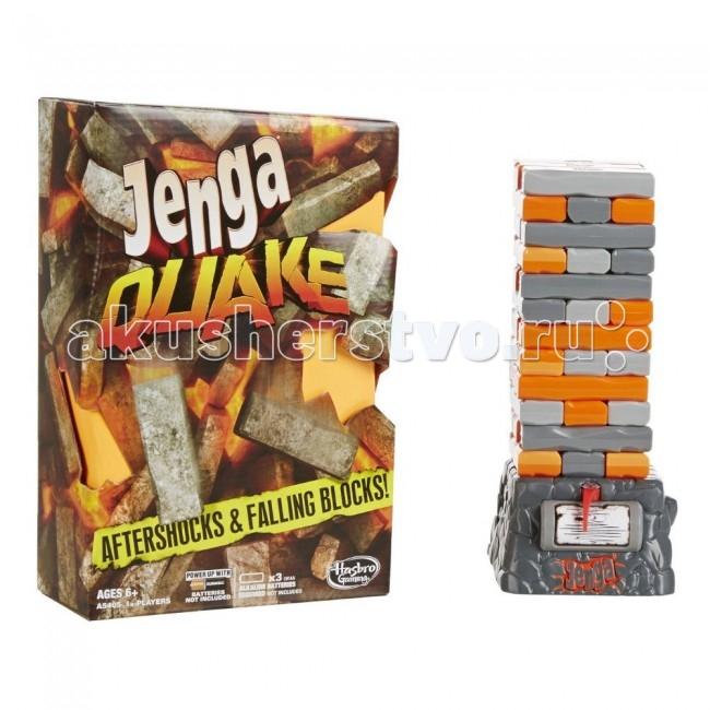 Hasbro Games Игра Дженга КвейкGames Игра Дженга КвейкНастольная игра Hasbro Дженга. Квейк – один из вариантов увлекательной игры Дженга. Суть игры Дженга Квейк заключается в том, чтобы достраивать в высоту башню, доставая аккуратно выложенные брусочки. Вытаскивайте их один за одним и укладывайте на вершину. Главное, чтобы башня Дженга не упала.  Именно в этом варианте классической Дженги условия игры усложняются тем, что вся башня выстраивается на сейсмической платформе, которая периодически начинает вибрировать и вращаться. И неизвестно, в какой момент начнется землетрясение и вся башня рухнет.  Настольная игра Jenga Quake развивает внимательность, сосредоточенность, аккуратность и логику. Да и просто это очень веселая игра для компании от 2 человек.  В наборе: 36 брусочков из пластика платформа правила игры  Платформа работает от 3 батареек АА, не входят в комплект.<br>