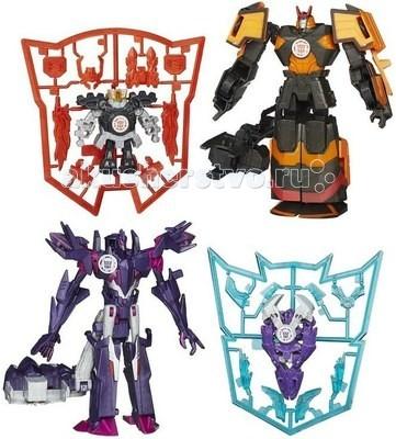Transformers Hasbro Трансформеры Роботс-ин-Дисгайз Миникон ДеплойерсHasbro Трансформеры Роботс-ин-Дисгайз Миникон ДеплойерсДесептиконы атакуют! Вековая вражда автоботов и десептиконов перешла на землю! Уже не первый раз десептиконы пытаются захватить нашу землю, но бравые автоботы в очередной раз героически отражают удар.   Теперь эпические сражения трансформеров переходят на новое поле битвы, где управляют ими дети. Набор фигурок Mini-Con Deployers - это новый шаг в противостоянии двух рас машин.  В этом наборе Mini-Con Deployers представлена боевая связка десептиконов, в которой один десептикон большого размера и имеет возможность трансформации в 10 шагов, а второй размером меньше. При трансформировании в игре их можно использовать как по отдельности, так и в боевой связке.  Особенности: 10 шагов трансформации большого трансформера набор аксессуаров к маленькому трансформеру при трансформировании оба трансформера объединяются большой трансформер имеет пусковой механизм для запуска миникона<br>