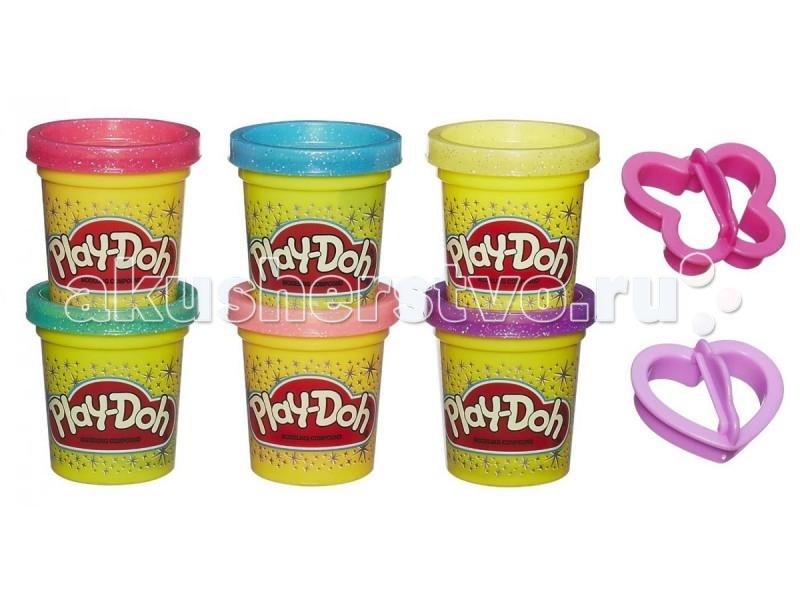 Всё для лепки Play-Doh Hasbro Набор 6 баночек Блестящая коллекция hasbro play doh b5517 игровой набор из 4 баночек в ассортименте обновлённый
