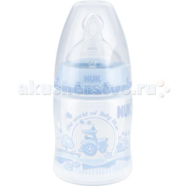 Бутылочки Nuk First Choice Plus Baby Blue пластик 150 мл силиконовая соска М бутылочки nuk first choice plus baby rose пластик 300 мл силиконовая соска м