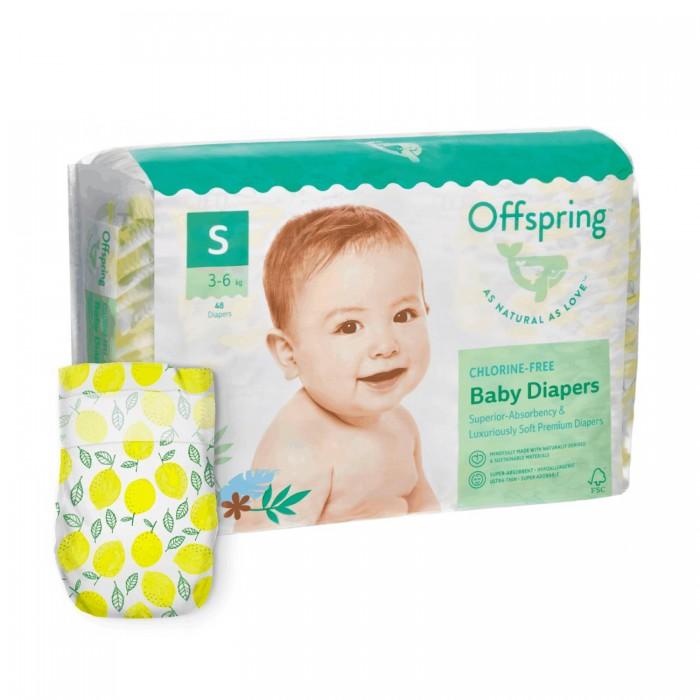 Offspring Эко-подгузники Лимоны размер S (3-7 кг) 48 шт.