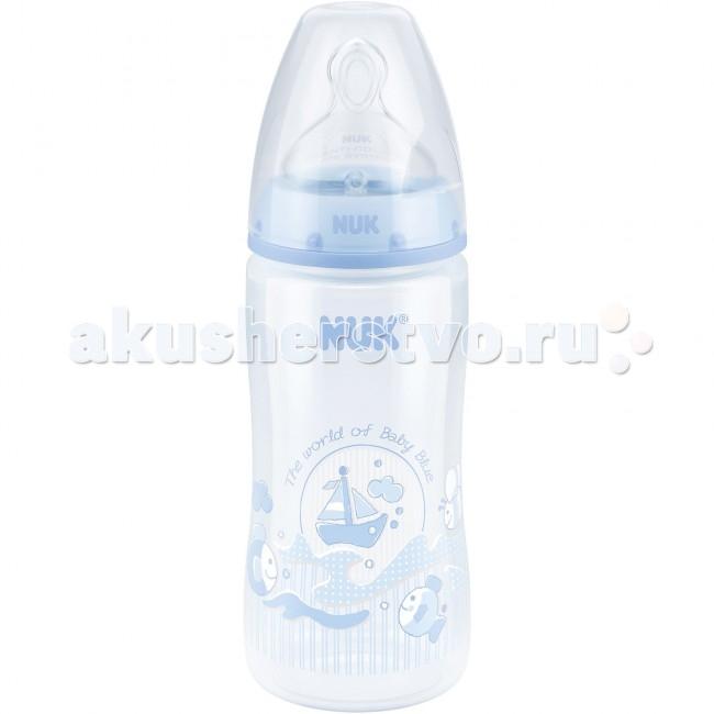 Бутылочка Nuk First Choice Plus Baby Blue пластик 300 мл силиконовая соска М
