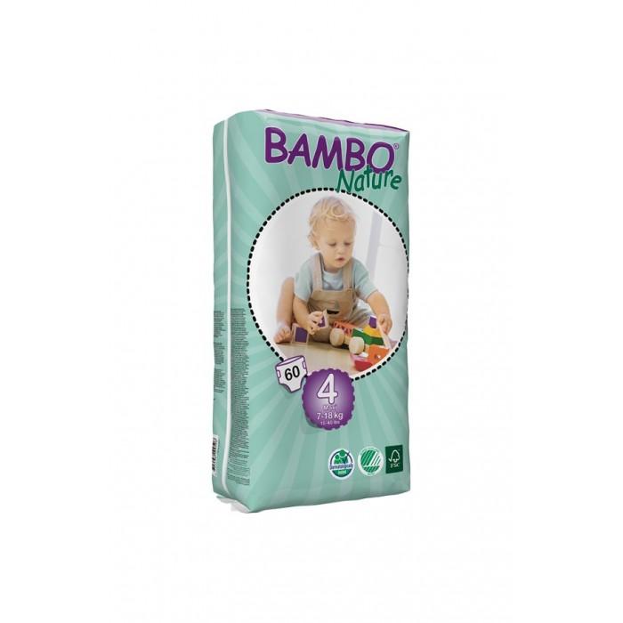 Bambo Nature Подгузники Max (7-18 кг) 60 шт.Подгузники Max (7-18 кг) 60 шт.Вес ребенка: 7-18 кг Количество в упаковке: 60 шт  Bambo Nature - это новое поколение экологичных подгузников, которые заметно выделяются среди прочих благодаря своим новым характеристикам.  Новые отличительные особенности Bambo Nature: Мягкие: Bambo Nature стали еще приятнее для тела благодаря текстильным внешним и внутренним материалам, которые дарят коже малыша такой же комфорт, как и мягкая детская одежда Тонкие: Bambo Nature стали тоньше, чем когда-либо, но, как и прежде, обеспечивают полную защиту Превосходная посадка: Bambo Nature созданы таким образом, чтобы идеально соответствовать телу малыша. Это минимизирует риск протекания и делает подгузник удобнее, обеспечивая малышу полную свободу движения.  Bambo Nature обладают и другими преимуществами: Эластичные застежки Дышащие текстильные материалы Суперабсорбент и система Top Dry, обеспечивающие быстрое впитывание и сухую поверхность.  Заботливые и ответственные родители постоянно стремятся дать своему малышу всё самое лучшее. Безусловно, это касается и выбора детских подгузников – они должны быть мягкими и удобными в использовании, надежно защищать нежную кожу и здоровье ребенка, а также идеально подходить по размеру, обеспечивая малышу абсолютный комфорт и полную свободу движения.  Кроме того, внимание к окружающей среде постоянно растет и становится все более важным для потребителей, и многие родители уже сегодня выбирают товары, которые не только заботятся об их малыше, но и сохраняют природу. Bambo Nature - одни из самых экологичных подгузников на рынке. Они созданы на производстве, способном перерабатывать 95% производственных отходов. Более того, подгузники Bambo Nature отмечены Экомаркировкой стран Скандинавии, знаком FSC (Лесной Попечительский Совет), а также прошли дерматологические исследования.  Подгузники Bambo Nature отмечены Экомаркировкой стран Скандинавии, что гарантирует Вам экологическую чистоту продукта и его соответ