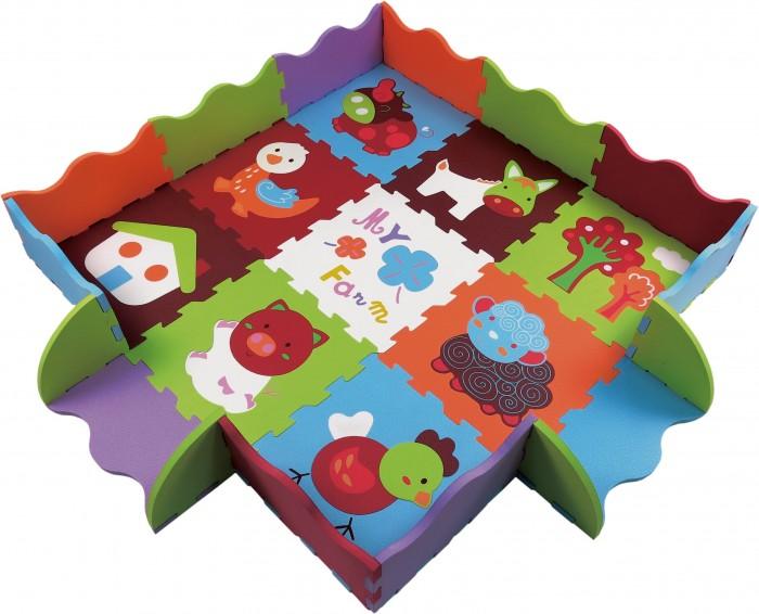 Игровой коврик ЯиГрушка пазл фигурный с бортиками Ферма (9 деталей)Игровые коврики<br>ЯиГрушка Коврик-пазл фигурный с бортиками Ферма (9 деталей) - увлекательная, развивающая игрушка, на которой малыш сможет лежать, сидеть, ползать и играть  Коврик состоит из девяти основных текстурированных сегментов, 16 деталей бортика и 43 вынимаемых деталей, их которых можно собрать домик, курочку, поросенка и других животных  А бортики коврика создадут дополнительную защиту для малыша, превратившись в удобный манеж   Таким образом, в игровой форме малыш развивает не только визуальное, но и тактильное восприятие предметов.