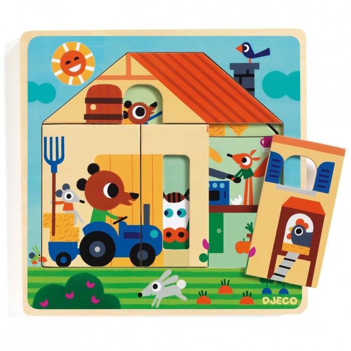 Картинка для Деревянная игрушка Djeco Трехслойный пазл Ферма