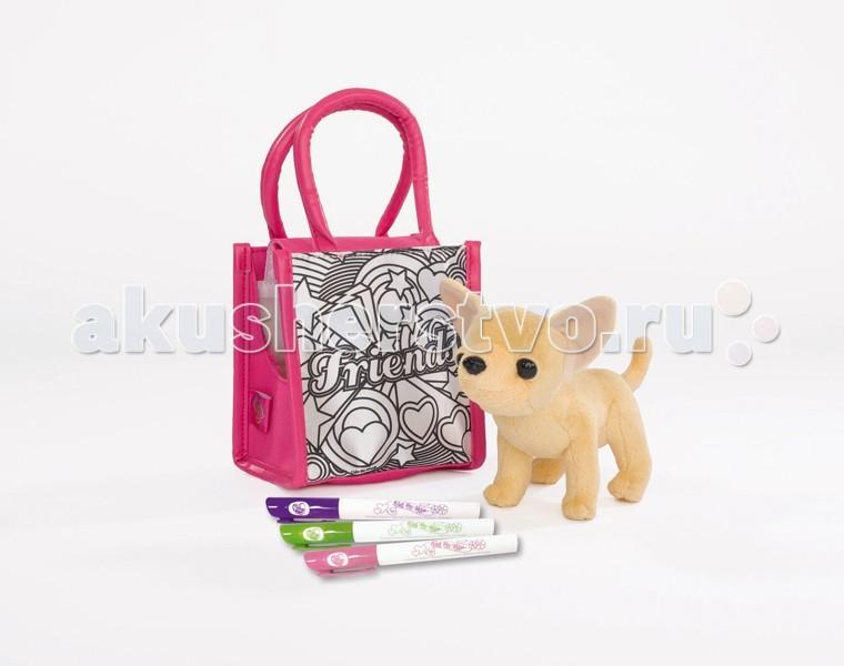 Мягкая игрушка Chi-Chi Love собачка Чихуахуа с сумкой для раскрашивания