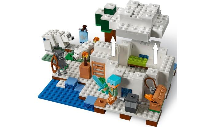 Конструктор Lego Minecraft 21142 ИглуLego<br>Lego Minecraft 21142 Иглу  Ты обнаружил иглу, недалеко от которого белая медведица с медвежонком ищут себе пропитание. В этом потрясающем лагере есть факел из красного камня, уютная кровать, верстак и печь.   Хватай удочку и отправляйся на рыбалку, затем используй навыки строительства Lego Minecraft, чтобы создать арбалет и защититься от животных, скрывающихся в сугробах.