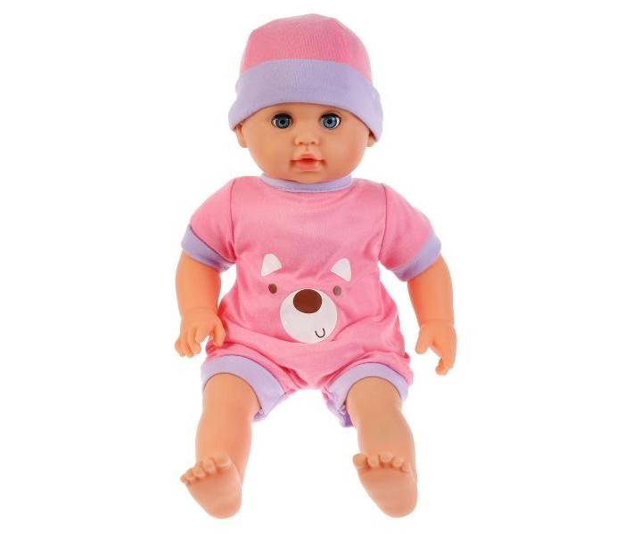 Карапуз Пупс Настенька 40 смКуклы и одежда для кукол<br>Карапуз Пупс Настенька 40 см станет любимицей малышек. Игрушка изготовлена из высококачественной пластмассы, её лицо и тело детально проработаны, глаза открываются и закрываются.   Кукла одета в комбинезон и шапочку, которые снимаются. Руки и ноги её двигаются. Когда у Настеньки болит ножка, её надо полечить. Для этого набор укомплектован медицинскими принадлежностями и детской бутылочкой. В стетоскоп слышно биение её сердца. Кукла воспроизводит 10 потешек и пословиц.   Игра с интерактивной куклой развивает фантазию, внимание, память, наблюдательность, чувство стиля и вкуса. Расширяет представление об окружающем мире, учит заботе и ответственности. Готовит к роли матери в будущем.   Рост игрушки 40 см.  Качество подтверждено аттестатом Ростест.  Рекомендовано для детей старше 3 лет.