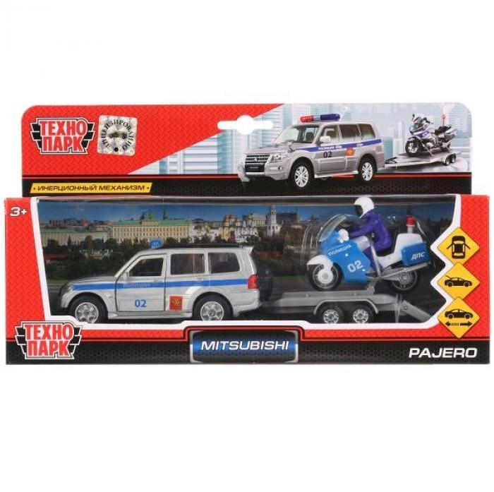 Купить Машины, Технопарк Машина Mitsubishi Pajero Полиция с мотоциклом на прицепе