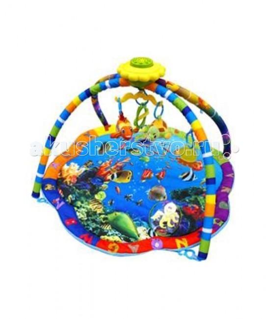 Развивающий коврик La-di-da Подводный мир музыкальныйПодводный мир музыкальныйДетский музыкальный развивающий коврик H-PM-S80701- для малышей от 0 до 12 месяцев. Выполнен из мягкой набивной ткани. В комплект коврика входят 4 игровые дуги, музыкальная карусель из 15 мелодий, 4 подвесные игрушки и подушка под голову. Игрушки можно повесить на карусель, хорошо развивают хватательный рефлекс крохи, их можно заменять любыми подвесками.   Коврик компактно складывается, удобен в хранении и транспортировке.  Легко стирается. ПроизводствоКитай. Размеры коврика 87х87х46см.<br>
