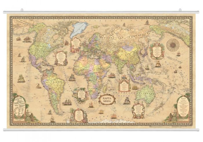 Ди Эм Би Политическая карта Мира Стиль ретро ламинированная  на рейках в картонном тубусе 1:25М