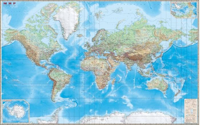 Купить Атласы и карты, Ди Эм Би Карта Мира Обзорная ламинированная 1:15М в картонном тубусе 190х140 см