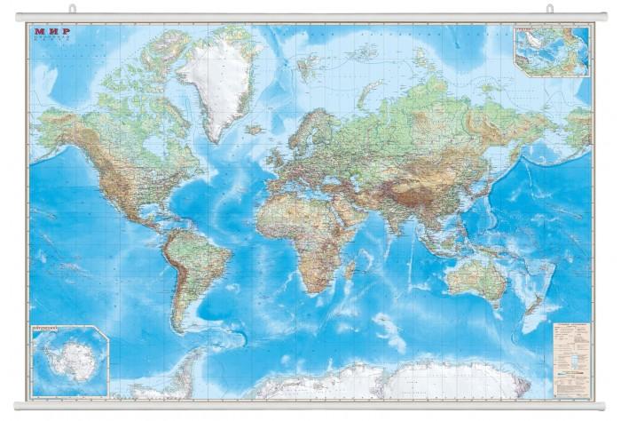 Купить Ди Эм Би Карта Мира Обзорная ламинированная на рейках 1:15М в картонном тубусе 190х140 см в интернет магазине. Цены, фото, описания, характеристики, отзывы, обзоры