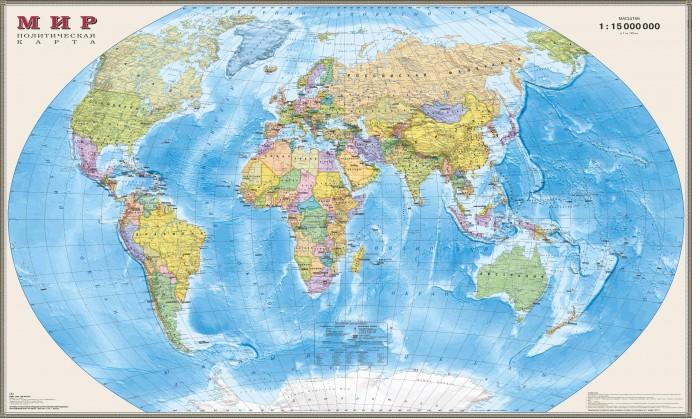 Ди Эм Би Карта Мира Политическая ламинированная 1:15М в прозрачном пластиковом тубусе 197х127 см