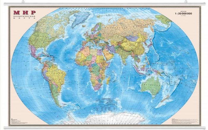 Ди Эм Би Карта Мира Политическая ламинированная на рейках 1:20М в картонном тубусе 156х100 см