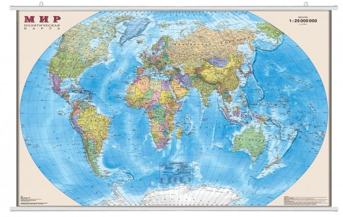Ди Эм Би Карта Мира Политическая ламинированная на рейках 1:25М в картонном тубусе 122х79 см