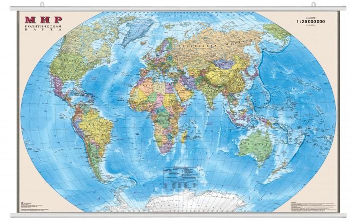 Ди Эм Би Карта Мира Политическая ламинированная на рейках 1:25М в прозрачном пластиковом тубусе 122х79 см