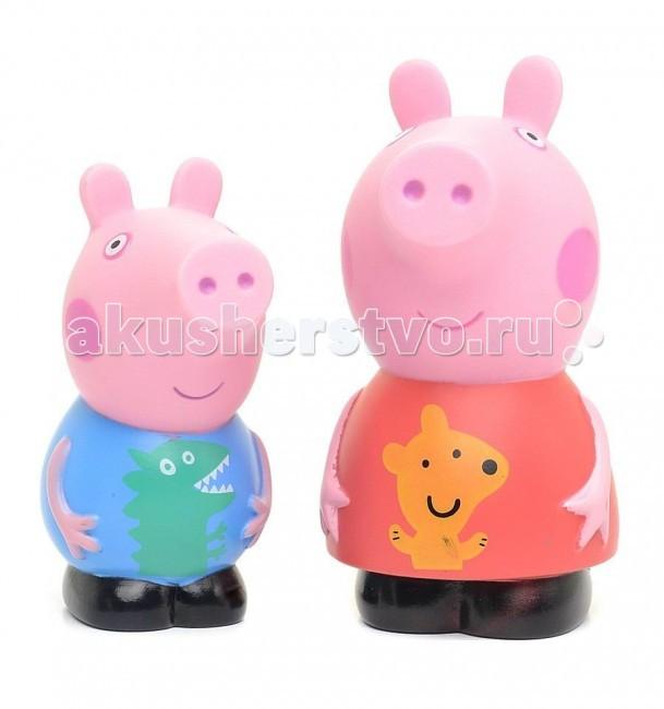 Игрушки для ванны Свинка Пеппа (Peppa Pig) Игрушка для купания Пеппа и Джордж 10 см мягкая игрушка peppa pig джордж с машинкой свинка розовый текстиль 18 см 29620