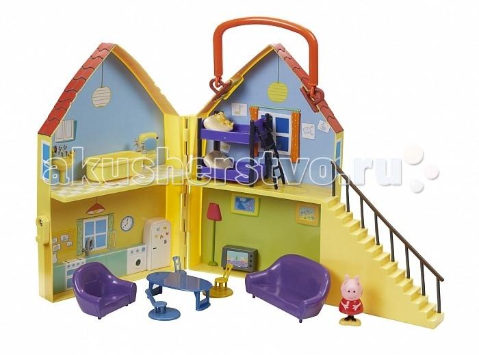 Peppa Pig Игровой набор Дом ПеппыИгровой набор Дом ПеппыСвинка Пеппа будет уютно себя чувствовать в шикарном двухэтажном домике, в котором есть четыре комнаты: гостиная, кухня, спальня и ванная. Она может сидеть в кресле и на диване, обедать за столом, принимать ванну и спать в своей постельке.   Сценарий новой «серии» мультфильма будет придуман исключительно вашими детьми! А чтобы игра получилась еще более увлекательной, набор можно дополнить другими персонажами, приобретя фигурки родителей Пеппы, ее братика Джорджа, друзей и другие игрушки из серии «Свинка Пеппа».   В наборе «Дом Пеппы» 15 предметов: фигурка Пеппы (5 см), у которой ножки двигаются вперед и назад вместе с устойчивой подставкой, к которой они прикреплены; двухэтажный домик с удобной ручкой для переноски, разделенный на 4 игровые зоны; мебель и аксессуары (ванна, диван, кресло, обеденный стол, 4 стула, телевизор, двухъярусная кровать с двумя подушками и ванна).   Товар сертифицирован и совершенно безопасен для детского использования.<br>