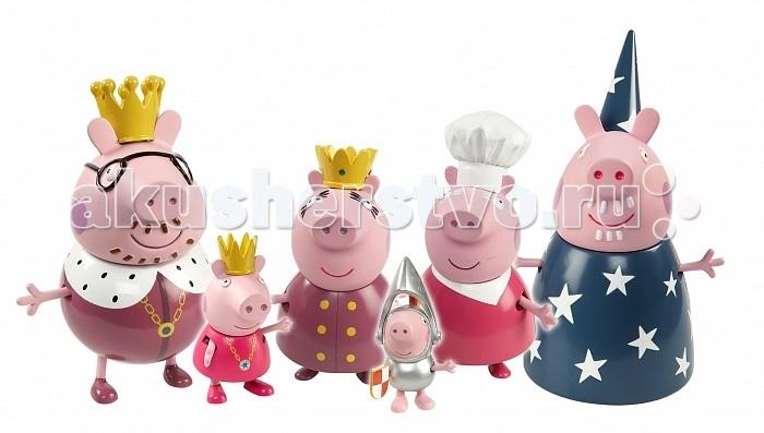 Peppa Pig Игровой набор Королевская семьяИгровой набор Королевская семьяИгровой набор «Королевская семья» с героями мультфильма «Свинка Пеппа» поможет малышкам окунуться в волшебный мир царственных особ. Играть с любимыми персонажами всегда интересно и весело!   А во время такой увлекательной сюжетно-ролевой игры детки проходят настоящую школу жизни: они развивают свое воображение, обмениваются знаниями, обогащают словарный запас, улучшают память, осваивают правила этикета и приобщается к общечеловеческой культуре. А чтобы игра была еще интереснее, можно приобрести другие игрушки из серии «Peppa Pig».  В игровом наборе 6 фигурок королевской семьи Пеппы: королева Мама Свинка – 9 см, король Папа Свин – 11 см, повар Бабушка Свинка – 10 см, звездочет Дедушка Свин – 11 см, принцесса Пеппа – 6 см, рыцарь Джордж – 5 см.   Фигурки могут стоять, сидеть, двигать ручками и ножками.   Товар сертифицирован и совершенно безопасен для детского использования.<br>