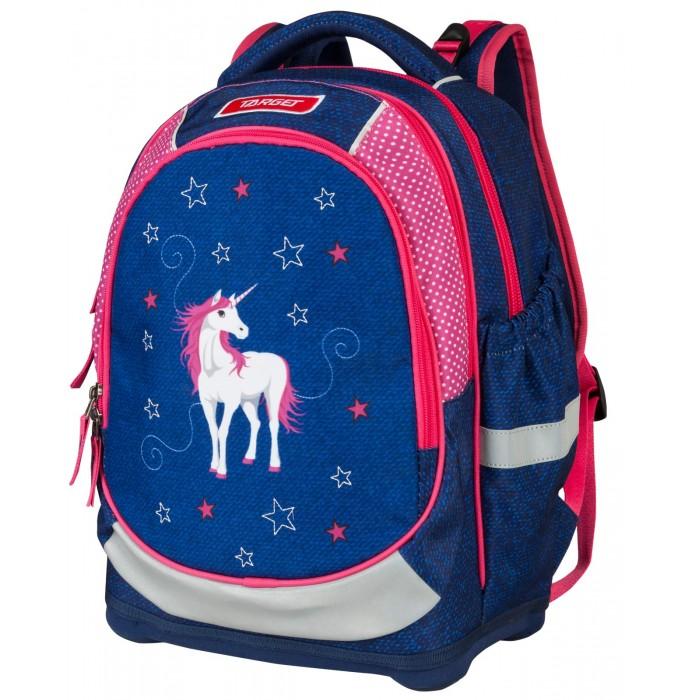 Target Collection Рюкзак супер лёгкий Белая лошадьШкольные рюкзаки<br>Target Collection Рюкзак супер лёгкий Белая лошадь имеет яркий рисунок и изготовлен из современных, прочных материалов.  При создании данной модели используются улучшенные материалы (3D), которые имеют свойство «дышать». Он оснащен двумя большими отделениями на молнии. Передняя часть рюкзака съемная и может быть изменена на другой рисунок, который входит в комплект. Так же по бокам имеются у него два кармана на резинке. Бегунки на застежках с удобными тканевыми держателями. Особенности рюкзака: Система Flexiball (поясничная поддержка). Ортопедическая спинка. Регулируемые плечевые лямки. Плечевые лямки и спинка содержат вентиляционные отверстия и дополнительно оснащены ЭКО-пеной.  Светоотражающий материал присутствует на передней, боковой и задней частях рюкзака.Мягкая ручка в верхней части. Прочное и устойчивое дно на пластиковых ножках.  Размер: 42 х 32 х 18 см. Объем: 24 литра. Вес: 990 гр.