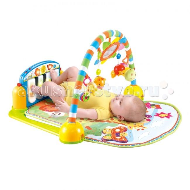 Развивающий коврик Bertoni (Lorelli) Музыкальный пианиноМузыкальный пианиноКонструкция легко собирается и переносится.   Яркий развивающий коврик  Выполнен из разных по фактуре материалов 4 забавные пластиковые погремушки-подвески + небьющееся зеркало в форме цветочка Специальный стенд в виде пианино, который имеет 2 варианта монтажа - для детей в возрасте до 6 месяцев для ножек, и для детей старше 6 месяцев для нажатия на кнопки ручками Громкость музыки можно регулировать громче, тише либо выключить вообще 3 режима музыкальных эффектов: музыка и слова, детский смех и мелодии, сопровождаемые световыми эффектами Развивает тактильное, звуковое и цветовое восприятия, координацию движений и мелкую моторику рук с самого рождения Материал: текстиль, пластик  Упаковка - прозрачная пластиковая сумочка с ручкой.  Размеры: 86х60 см.  Внимание! Цветовое решение изделия может отличаться в зависимости от поставки.<br>