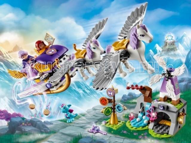 Конструктор Lego Elves Летающие сани ЭйрыElves Летающие сани ЭйрыКонструктор Lego Эльфы Летающие сани Эйры - счастливые обладательницы найдут зачарованное печенье, карту, а также детали для сборки домика очаровательного дракончика. Воздушная мельница, миниатюрный водопад и уютная пещера – все это сделает игру максимально реалистичной и интересной.   Чтобы вернуть Эмили Джонс в мир людей, эльфийки Эйра и Азари должны объединить усилия и добыть четвёртый ключ Стихий. Вместе, волшебницы решили отправиться в далёкое путешествие туда, где вершины гор встречаются с небом, и где живут самые настоящие драконы. Но добраться до драконьего царства нелегко! Для этого понадобятся удивительные летающие сани, запряжённые сказочными пегасами.   Корпус саней выполнен из фиолетово-белых деталей с добавлением золотых элементов. Внутри видны два посадочных места, расположенных друг за другом. По бокам установлены складные длинные крылья и подвижные малые крылышки. Под днищем закреплены изогнутые полозья. Сзади расположена площадка для сундука, в котором можно перевозить, продукты, карту или добытый ключ.  Размер саней в собранном виде составляет 5 &#215; 26 &#215; 12 см  В наборе: фигурка дракончика Мику, два пегаса Руфус и Звездочка и 2 фигурки эльфов - Эйра и Азари.  Количество деталей: 319<br>
