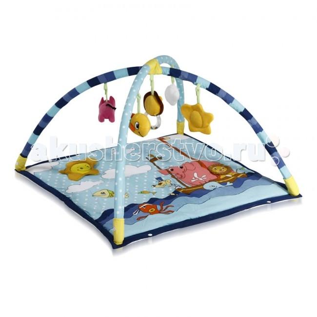 Развивающий коврик Bertoni (Lorelli) Лодка в мореЛодка в мореКонструкция легко собирается и переносится.   Яркий развивающий коврик  Выполнен из разных по фактуре материалов Внутрь вшита пищалка, сверху - шуршащие элементы В комплект входят съемные дуги и занимательные игрушки с погремушками Игрушки могут использоваться отдельно как погремушки, прорезыватели и мягкие игрушки Развивает тактильное, звуковое и цветовое восприятия, координацию движений и мелкую моторику рук с самого рождения Материал: текстиль  Упаковка - прозрачная пластиковая сумочка с ручкой.  Размеры: 80х80 см.<br>