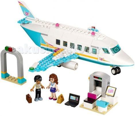 Конструктор Lego Friends Подружки Частный самолетFriends Подружки Частный самолетКонструктор Lego Friends Подружки Частный самолет - Оливия и Мэттью решили прямо сегодня отправиться в романтическое путешествие. Чемоданы в миг собраны и вот они уже в аэропорту. Сначала необходимо пройти через рамку металлоискателя, затем досмотр на пропускном пункте и конечно же не забыть сдать багаж. Самолёт уже ожидает своих пассажиров! Комфортабельный салон оборудован двумя удобными креслами и личным телевизором, а во время полёта стюардесса предложит прохладительные напитки. Все пассажиры на борту, экипаж готов, авиакомпания Хартлейк Сити желает Вам хорошего полёта!  Частный самолёт подойдёт для путешествий! Его корпус выполнен из бело-голубых деталей с добавлением оранжевых полос и логотипов авиакомпании. Спереди располагается кабина пилота, окружённая голубоватыми ветровыми стёклами с хорошим обзором. Под кабиной установлен мощный противотуманный прожектор, который обязательно пригодится во время посадки. Центральная часть фюзеляжа представляет собой просторный салон для пассажиров. Чтобы рассмотреть его интерьер, достаточно снять часть крыши.  Внутри Вы найдёте два комфортабельных кресла, повёрнутых друг к другу, небольшой столик для прохладительных напитков и монитор. В хвостовой части устроена туалетная комната и багажный отсек. По бокам от салона видны два симметричных крыла. Каждое из них оборудовано двигателем и системой сигнальных огней.  Размер самолёта — 7&#215;25&#215;25 см.  Также из деталей набора Вы сможете построить зону досмотра пассажиров, состоящую из серой рамки металлоискателя и рентгеновского аппарата с конвейерной лентой и монитором.  В наборе присутствуют 2 фигурки с аксессуарами: Оливия и Мэттью.  Количество деталей: 230<br>