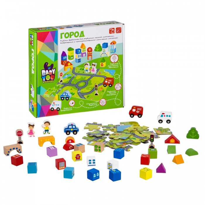 Деревянная игрушка Bondibon Кубики Город