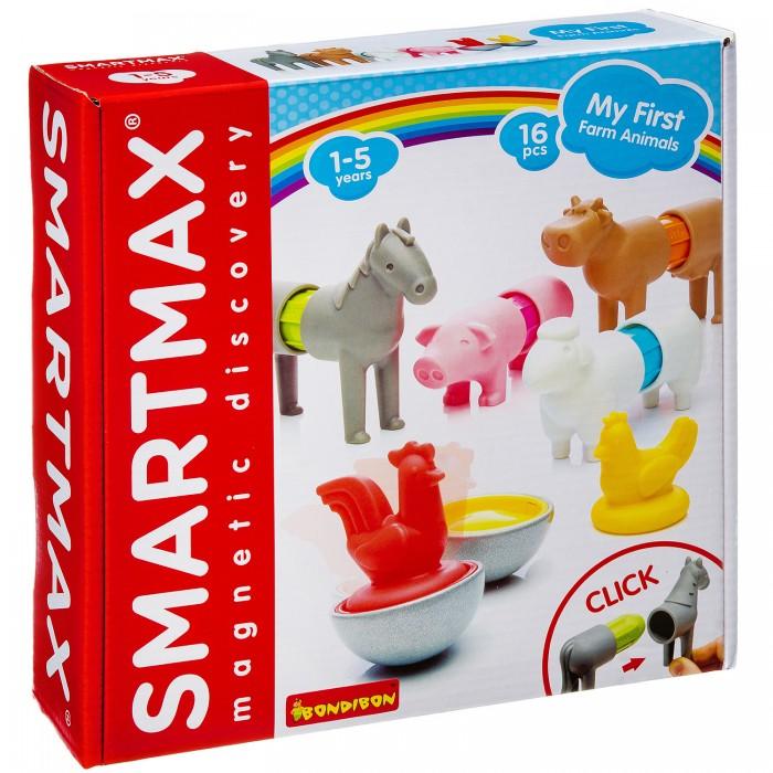 Конструктор Bondibon Магнитный SmartMax Мой первый набор животных фермы 16 деталей