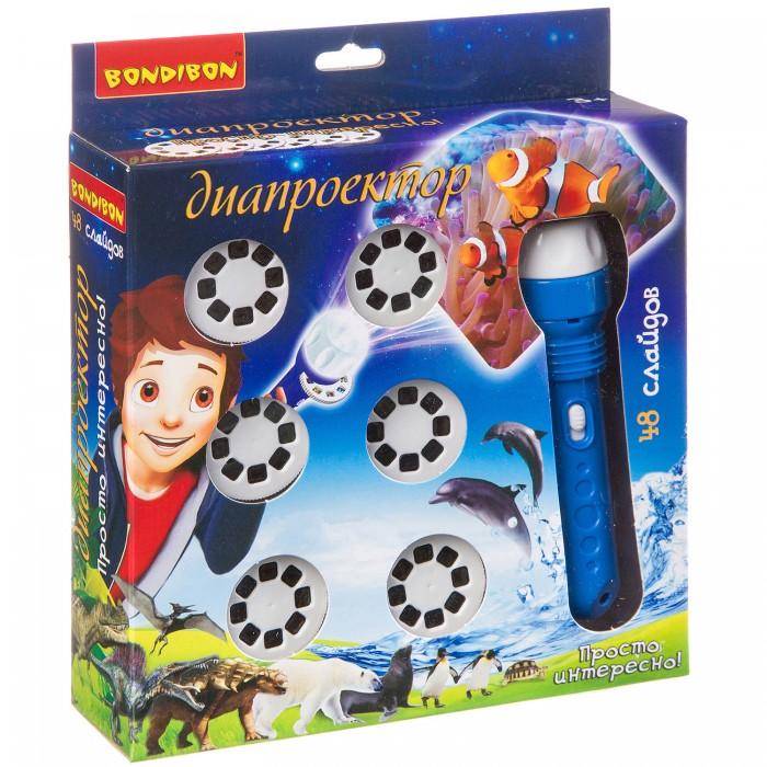 Электронные игрушки Bondibon Диапроектор-фонарик животные и динозавры 6 дисков