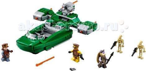 Конструктор Lego Star Wars 75091 Лего Флэш СпидерStar Wars 75091 Лего Флэш СпидерКонструктор Lego Star Wars Флэш Спидер - скоростное транспортное средство, разработанное силами безопасности планеты Набу. Изначально эти машины использовались для патрулирования городских улиц и быстрого перемещения между соседними населёнными пунктами. Но, всё изменилось после вторжения на планету боевых дроидов Торговой Федерации. Вспышкам пришлось пополнить ряды более тяжёлой военной техники, чтобы защитить мирное население от вражеских оккупантов.  Летательный аппарат состоит из деталей зеленого и серого цвета. Просторная кабина пилота оборудована тремя пассажирскими и одним местом для пилота со штурвалом. У кабины присутствует лобовое стекло. По бокам и в верхней части звездолета установлено функциональное оружие с зарядами оранжевого цвета. Также, есть еще одна пушка, установленная на поворотной башни. Есть специальное крепление для бластеров. Боковые панели поднимаются.  В наборе: 5 минифигурок, 2 боевых дроида, 2 солдата Набу и воина Гунгана, 3 функциональных оружия, башня с поворотным механизмом.  Кабина пилота оборудована тремя пассажирскими и одним местом для пилота со штурвалом.<br>