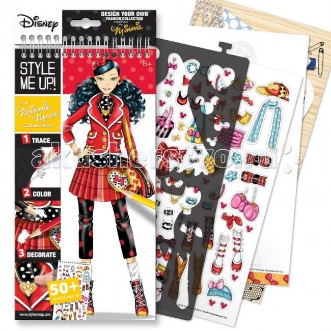 Наборы для творчества Wooky Style Me Up Блокнот с трафаретами Disney Коллекция Минни Маус style me up 1462 блокнот с трафаретами рок звезда style me up