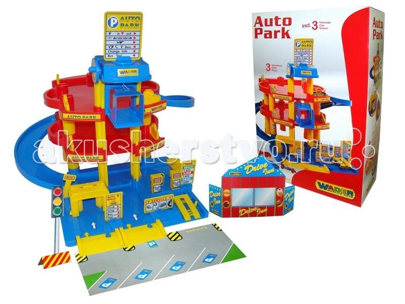 Wader Паркинг 3-уровневый с автомобилямиПаркинг 3-уровневый с автомобилямиWader Паркинг 3-уровневый с автомобилями предназначен для самых маленьких любителей автомобилей.  Особенности: В наборе есть лифт, мойка, заправка, автосервис.  В наборе 3 машины: синяя Ауди, грузовик Мерседес и Формула 1.  В кузовах легковых автомобилей есть дырочки для заправочного пистолета.<br>