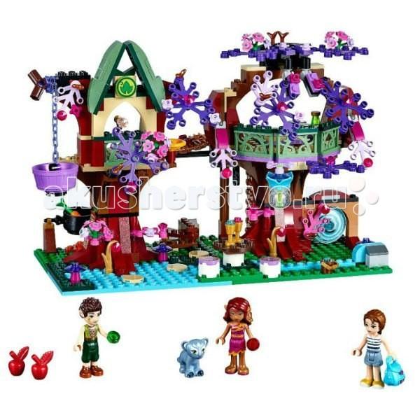 Конструктор Lego Elves Деревня эльфовElves Деревня эльфовКонструктор Lego Elves Деревня эльфов - окунись в волшебный мир Эмили!  Прогуливаясь по саду своей бабушки, Эмили неожиданно оказывается в укрытии на верхушке дерева в совершенно новой вселенной, в которую она перенеслась через волшебный портал. Вместе с Эмили разведай все вокруг и познакомься с эльфом огня Азари, по прозвищу Танец Огня, и эльфом земли Фарраном, по прозвищу Тень Листвы. Пусть Фарран взберется по волшебной лестнице и покажет Эмили окрестности своего необычного дома.   Послушай рассказ Эмили о том, как она сюда попала, и что ей нужно вернуться домой в мир людей. Приготовь на огне суп и отправь немного еды на верхушку дерева в волшебной подъемной корзине для детеныша пантеры Энки. Затем отправляйся на встречу с эльфами воды и ветра — Эмили понадобится и их помощь!<br>