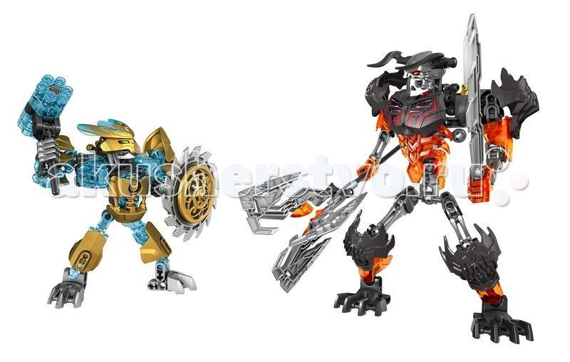 Конструктор Lego Bionicle 70795 Лего Создатель Масок против Стального ЧерепаBionicle 70795 Лего Создатель Масок против Стального ЧерепаКонструктор Lego Bionicle Создатель Масок против Стального Черепа - заключительная часть битвы между добром и злом в серии Bionicle! Великий Создатель Масок Экиму вступает в бой со злобным Стальным Черепом! Решающая битва за обладание Маской Мироздания начинается!  Его корпус выполнен из серебристых деталей с добавлением прозрачных голубых элементов. На груди, плечах и коленях видна непробиваемая золотая броня. В правой руке герой держит шестизарядный скорострельный шутер, а в левой — вращающейся щит с острыми лезвиями.  Высота Создателя Масок в собранном виде составляет 14 см  Для противостояния столь сильному герою Стальной Череп принял свой самый свирепый вид. Его суставы прикрыты массивными защитными пластинами, а из-под декорированного нагрудника виден огненно-красный скелет. Правая рука сжимает топор с тремя изогнутыми лезвиями, а левая — наточенный меч с крюком.  Высота Стального Черепа — 21 см  Количество деталей: 171<br>