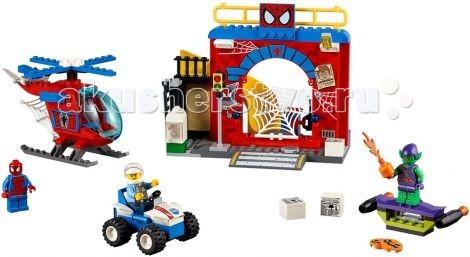 Конструктор Lego Juniors Убежище Человека-ПаукаJuniors Убежище Человека-ПаукаКонструктор Lego Juniors Убежище Человека-Паука - оборудованный по последнему слову фантастического мира штаб защищен от любого вторжения. Сверхчувствительная сеть улавливает малейшие вибрации, компьютер позволяет связываться с полицией, а на стенах развешаны ориентировки на самых опасных преступников.  В основе конструкции лежит серая плита, являющаяся частью городской улицы с пешеходной зеброй, канализационным люком и светофором. Слева от перехода видна небольшая ниша, образованная откидной лестницей и балконом. В ней установлен белый почтовый ящик с открывающимся прозрачным окошком. Справа от балкона построена красная кирпичная арка, служащая фасадом заброшенного дома. Вход внутрь преграждает огромная паутина с функцией опускания. Также рядом с входом установлен компьютер, сигнальные огни и прожектор. На крыше здания организована дозорная площадка Человека-паука. При малейшей опасности, он может быстро спуститься вниз, используя свою потайную горку, и приготовиться к сражению.  Размер убежища в собранном виде составляет 13 &#215; 16 &#215; 10 см  Для разведывательных миссий Человек-паук может использовать свой красно-синий вертолёт с поднимающимся ветровым стеклом, вращающимися винтами, вместительным грузовым отсеком и возможностью прикрепления паутины.  Размер вертолёта составляет 9 &#215; 13 &#215; 10 см  Также из деталей набора Вы сможете собрать квадроцикл полицейского и воздушный планер Зелёного гоблина, стреляющий тыквами.  В наборе присутствует фигурка красного паука и 3 минифигурки с аксессуарами.  Количество деталей: 137<br>