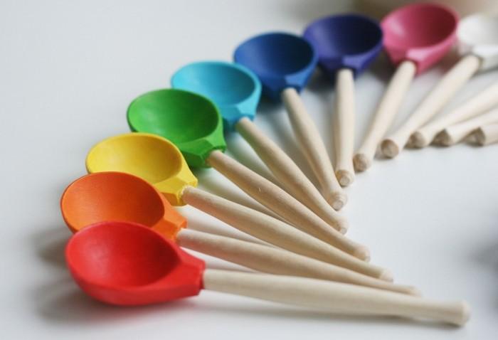 Деревянная игрушка Уланик Набор Монтессори Цветные ложки