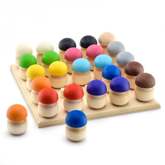 Деревянная игрушка Уланик Игра Монтессори Грибная поляна (25 грибочков)