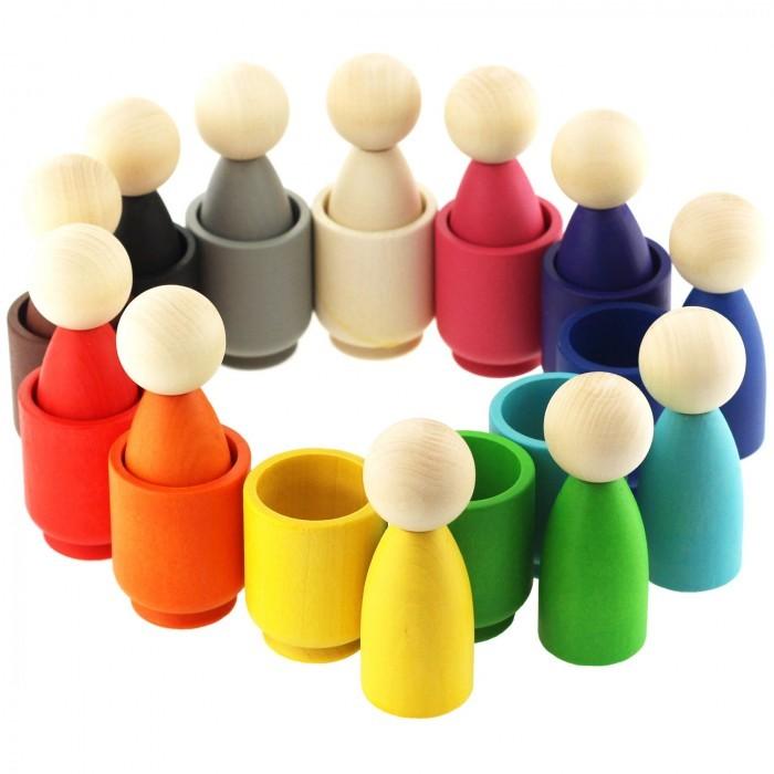 Фото - Деревянные игрушки Уланик Набор Монтессори Гномики в стаканчиках деревянные игрушки уланик игра монтессори грибная поляна 25 грибочков